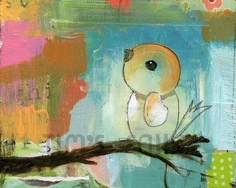 Treetops- mixed media art print by Mindy Lacefield