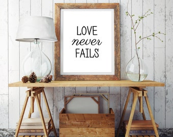 Love never fails prints Typography poster Bedroom wall art Love print Valentines day decor Minimalist art Modern wall prints Home decoration