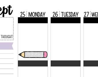 Glitter Pencil Planner Stickers
