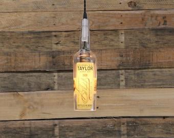Colonel E.H. Taylor Bourbon Bottle Light, Upcycled Bottle Light, Whiskey Light, Gift For Him, Man Cave Gift, Glass Pendant Light,