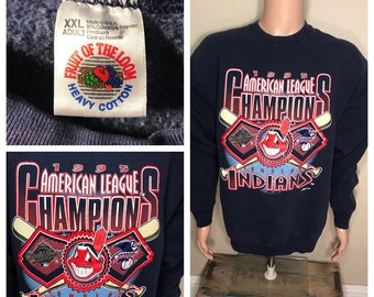 Vintage Cleveland Indians sweatshirt // Chief wahoo // 1995 World Series sweater // adult size XXL XL // made in usa // big logo spell out