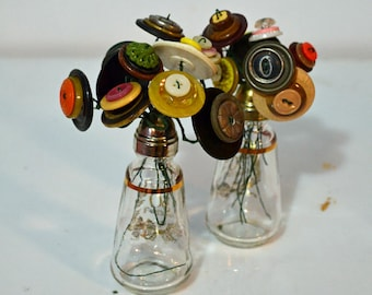 50th Anniversary Button Bouquet Upcycled Decor OAK