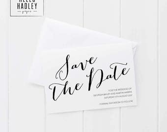Printable wedding save the date card - Bailey collection