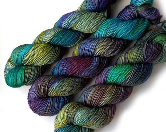 Handdyed Sock Yarn Tight Twist Merino Cashmere Nylon Fingering - Monet's Waterlilies, 400 yards
