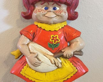 Red Head Girl Chalkware Figure, Freckles, Cook, Vintage Wall Mount, Kitchen Decor, Cute Little Girl