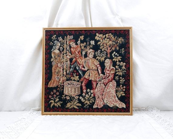 Vintage French Framed Medieval Style Reproduction Tapestry Les Vendanges, Medieval Castle Weaving Decor Grape Harvest Wall Hanging France