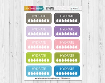 Hydrate Planner Stickers | Hydrate Stickers | Hydration Planner Stickers | 18032-03