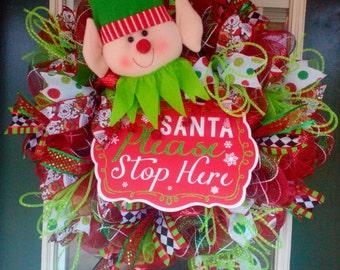 Christmas Wreath, Elf Wreath, Deco Mesh Christmas Wreath, Holiday Wreath, Christmas Elf Wreath, Christmas Mesh Wreath, Christmas Decoration