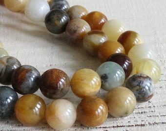 10mm Round Gemstone Beads For Jewelry Making - 10mm Gemstone Beads -Mala Bead Supplies - Moonflower Jade - 16 Inch Strand