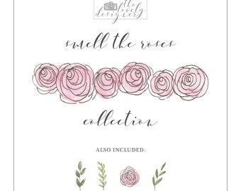 Digital Rose Clipart | Smell the Roses Collection | Hand Drawn & Painted | Individual Elements Included