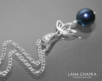 Navy Blue Pearl Sterling Silver Necklace Swarovski Night Blue Pearl Necklace Dark Blue Wedding Jewelry Blue Silver Pendant