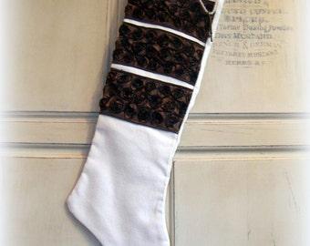 Ivory Christmas stocking, corduroy, skeleton key, extra long stocking, holiday decor
