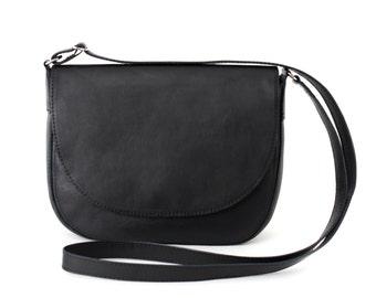 Crossbody Saddle Bag Black Leather, minimalistic shoulder bag