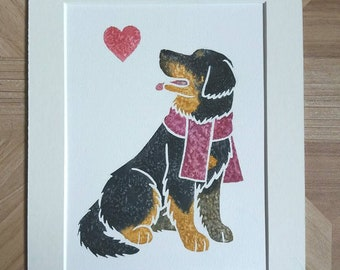 """HOVAWART - Original 10x8"""" mounted watercolour picture of a German Hovawart dog, by Yorkshire artist Jess Chappell"""