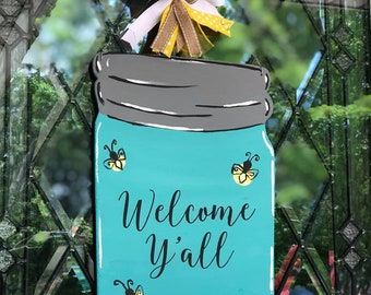 Welcome Y'all Mason Jar Wooden Door Hanger