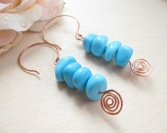 Turquoise earrings,  Turquoise beads,  Turquoise jewelry,  Copper earrings, Boho earrings, Turquoise copper earrings, Turquoise pebbles