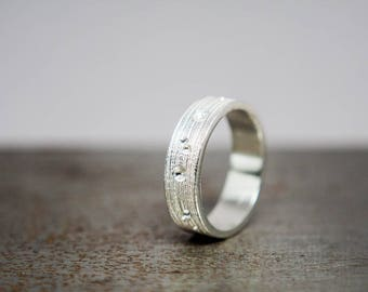 Silver Anniversary Gift - Minimalist Silver Ring - Size 9 Textured Ring Band - Ready to Ship Jewelry Gift