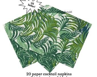 Palm Blatt cocktail Servietten, tropische Luau Partydekorationen, Getränke Geschirr, Papier, Laub, Zweige, Wedel, Blätter, Insel