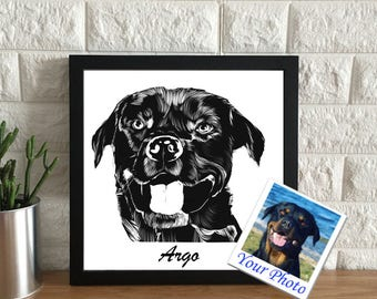 Custom dog drawing | custom pet portrait | drawing from photo | mini portraits | animal drawing | memorial pet | pet lover gift idea