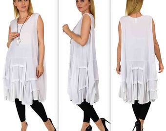 Full Figure Plus size tunic dress in lagenlook style.Designer tunic dress with details fits upto 4XL