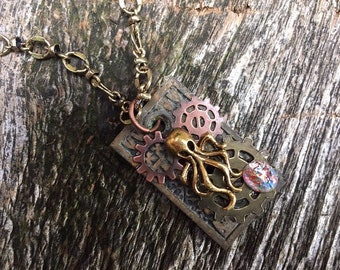 Steampunk Fantasy Pirate Vintage Eastlake Cthulu Octopus Pendant Necklace