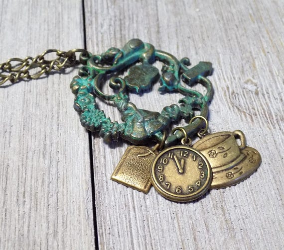 Alice in Wonderland vintage bronze handmade necklace