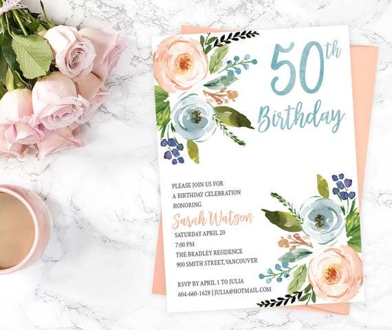 Floral 50. Geburtstag Party Einladung druckbare Garten für