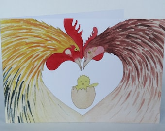 """Postcard """"newborn chick"""" birth card drawn and painted by hand"""