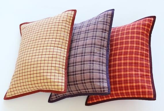 Orange Plaid Farmhouse Pillow
