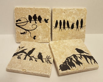 Travertine Bird Coasters , travertine coasters, natural stone coasters, bird lovers, bird gifts, nature gifts, drink coasters