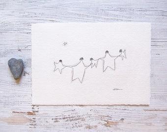 star family illustration, simple family art, nursery room decor, childrens illustration, minimalist pencil sketch, ORIGINAL doodle