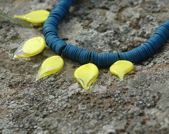 Stunning Necklace, Blue & Yellow Necklace, Summer Necklace, Christmas Necklace, Lampwork Necklace, Glass Beads Necklace