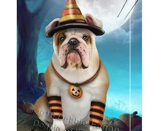 Happy Halloween Trick or Treat Bulldog Dog Candy Corn Canvas Wall Art