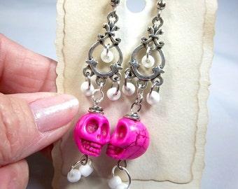 Skull Earrings, Pink Howlite, Longer Earrings, Gothic Earrings, Lightweight Dangles