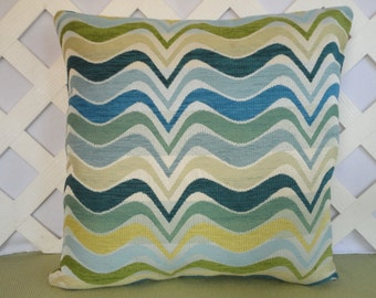 Wavy ZigZag Pillow Cover in Blue Teal Olive Beige / Blue Pillow / Accent Pillow / Decorative Pillow /  18 x 18 Pillow