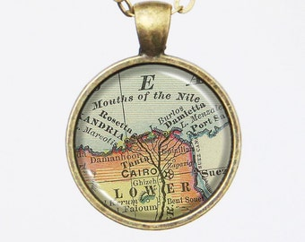 Old Map Necklace - Cairo Pendant, Egypt, Africa -Vintage Map Series