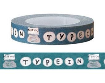 Typewriter Washi Tape / Masking Tape/ Deco Tape - 10mm x 15m long