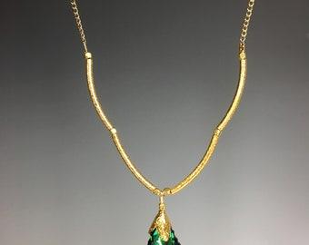 Green Swarovski Crystal Pendant Necklace - Swarovski Jewelry - Green and Gold Jewelry - Swarovski Necklace - Green Leaf Necklace