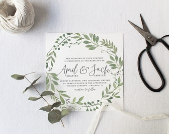 Organic Wedding Invitation Suite DEPOSIT DIY Rustic