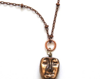 Handmade Glass Pendant Dual Sided Face Necklace