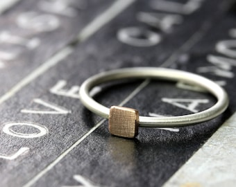 Silver Ring 925 with square 4 mm from 333 rose gold (8k) stacking ring, Beisteckring