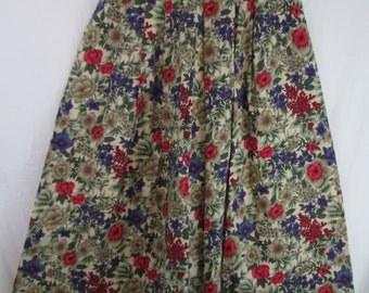 Vintage Maxi Skirt Luce's Small 100% Cotton Floral Print Pleated Bohemian Hippy Full Long