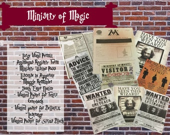Ministry of Magic Paper Props - Hogwarts- Harry Potter- Wizard School