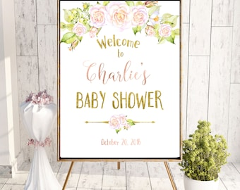 Baby Shower Welcome  Sign roses Baby Shower decor Printable Instant Download Baby Shower banner Baby Shower Blush Pink decoration idbss4