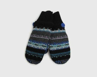 Wool Sweater Mittens // Fleece Lined Wool Mittens // Blue Gray and Black Fair Isle Felted Wool Mittens