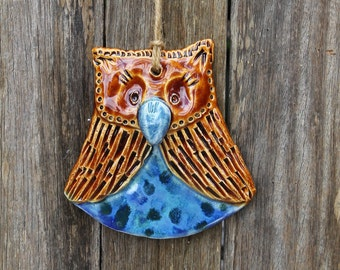 Ceramic Owl in Brown and Blue