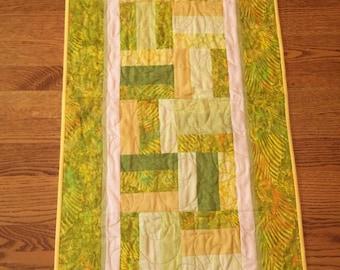 Bright Yellow, Green and Cream Batik Table Runner