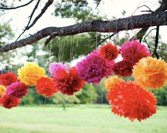 Tissue paper pom poms, Mexican party decorations, Mexican fiesta, fiesta, mexican paper flowers, bridal shower, baby shower decorations, pom