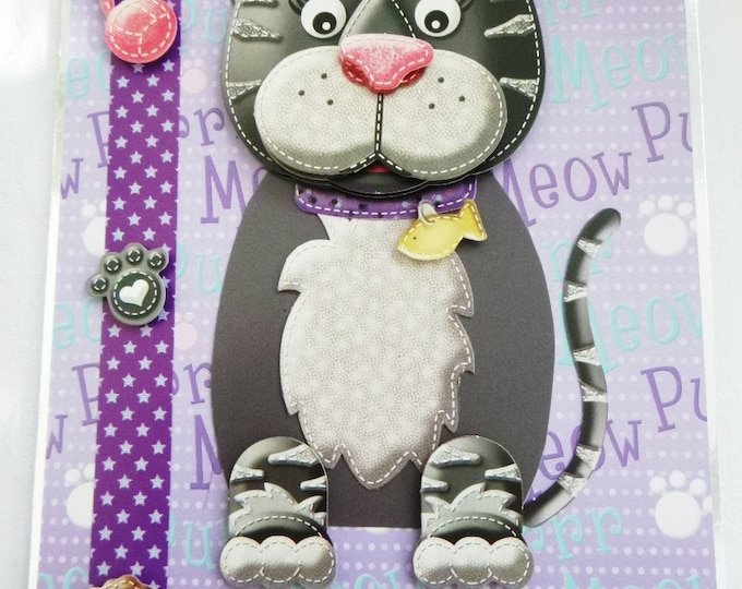 To My Cat, Novelty Card, Animal Card, Cat 3 D Decoupage Card, Birthday Card, Black and Grey Cat, Suitable for Any Cat