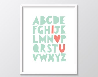 Mint and Coral Nursery Wall Art Printable, Alphabet Print, ABC Art, Mint Green Decor, Coral print, I Heart U Nursery Decor, Nursery Prints